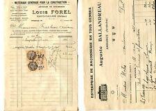 2 FACTURES Louis FOREL matériaux & BALLANDREAU maçon SAINT VALLIER ANDANCE 1931