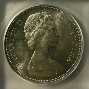 1966 Canadian Silver Dollar $1 Coin, Graded ICG - MS64 (Free Worldwide shipping)