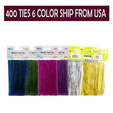400 pcs 4'' Metallic Twist Ties - 6 Colors Free Usa Shipping!