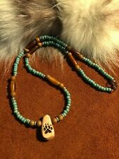 "WOLF track Necklace, 20.5"" long, Unique hand craved, horn beads and seed beads"