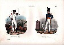AMBOINE - Indonesien - Soldaten - grossformatige Lithographie 1833 - Original!