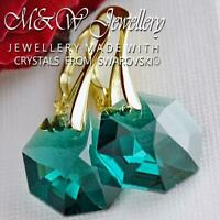925 Silver Gold Plated Earrings Crystals From Swarovski® 14mm OCTAGON - Emerald
