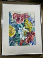 """Vintage """"Still Life With Flowers Scene"""" Watercolor Painting - Matted And Framed"""