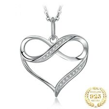 925 Sterling Silver Infinity Love Heart Pendant Necklace Without Chain For Women