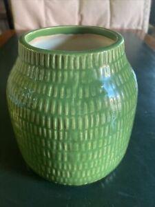 Crate and Barrel Verde Green Basket Weave Small Vase Utensil Holder