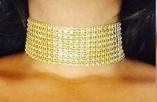 GOLD Thick Crystal Rhinestone Choker Wide NEW CELEBRITY TREND Velvet Ribbon