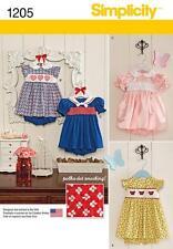 SIMPLICITY SEWING PATTERN BABIES SMOCKING CROSS STITCH DRESS  XXS - L  1205 A