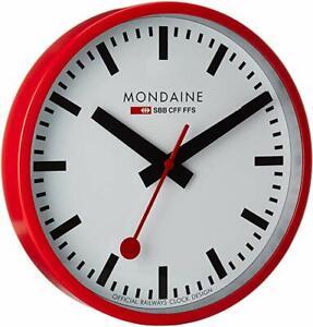 Mondaine A990.CLOCK.11SBC Official Swiss Railways Red Metal 25cm Wall Clock