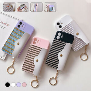 For iPhone 13 12 Pro Max 11 XS XR 876 WOMEN Case Strip Leather Card Wallet Cover