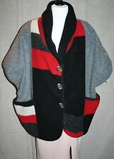 "STRIKING Plus Size Chunky Style Felt Wool Jacket 64"" Bust Colour Block Top"