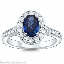 18Carat White Gold Natural Blue Sapphire & Diamond Oval Cluster Ring 1.00 Carats