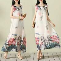 Chinese Style Womens Floral Dress Casual Loose Long Sleeveless Dress Printed