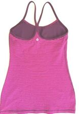 LULULEMON Power Y Tank Top w Shelf Bra Hyper Stripe Raspberry Glo Plum sz 4 EUC
