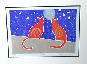 """MERREN GARLAND """"TWO"""" LIMITED EDITION SIGNED MIXED MEDIA CASTS PAINTING"""