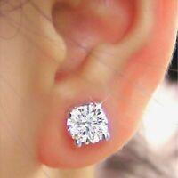 2 Carat Round Cut Solitaire Diamond Earrings Studs White Gold Finish Silver A1