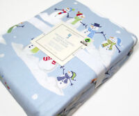Pottery Barn Kids Blue Multi Colors Snowman Flannel Twin Duvet Cover New