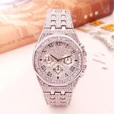 Luxury Diamond Iced Out QUARTZ Analog Silver Watch Waterproof Men's Watchers