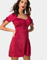MOTEL ROCKS Guenette Dress in Satin Cherry XS (mr40)