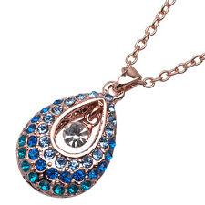 4.40 Ct Round Cut Style Shape Blue Sapphire CZ 18K Rose Gold Plated Pendant