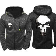 The Punisher Hoodie Fleece Hooded Coat Sports Jacket Unisex Zip Up Sweatshirt