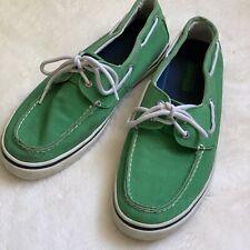 Sperry Men's 12 Top Sider Green Bahama 2-Eye Varsity Boat Shoe Sneaker Loafer