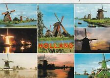 The Windmills of Holland Multiview Postcard used VGC