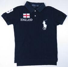 Polo Ralph Lauren Custom Fit Blue England Big Pony #3 Rugby Short Sleeve Shirt S