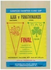 2 tickets football dans cadre FINALE 71 PANATHINAIKOS / AJAX parfait ETAT cruyff