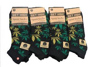 Mens Trainer Socks Ganja Weed Leaf Print Cannabis Rich Cotton socks Size 6-11