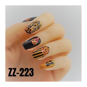 Glow in Dark Halloween color wraps real nail polish strips ZZ110 street art