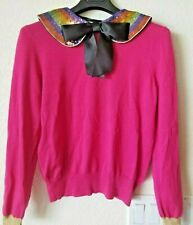 NEW Gucci Auth Cashmere Silk Sweater Pullover Top Sequin Embroidered Collar Pink