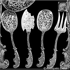 Bouton French sterling silver Dessert Hors d'Oeuvre set 4 pc w/box Rococo