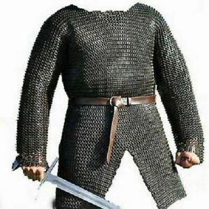 Flat Riveted With flat Warser Chainmail shirt Armor 9 mm Large Size Full sleeve