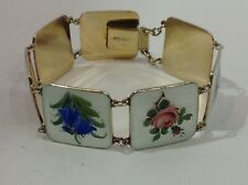 Norwegian Sterling Silver Bracelet. Guilloche Enamels. Flowers. Antique