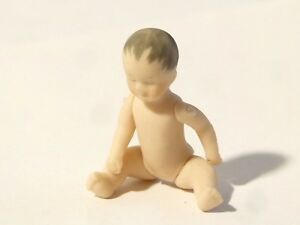 Vintage Miniature Bisque Porcelain Baby Doll Articulated Signed UO or OU #D1 *