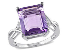 Natural Purple Amethyst 5.80 Carat (ctw) and White Topaz Ring in Sterling Silver