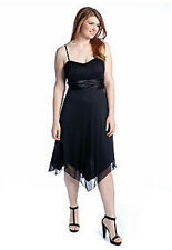 Plus Size Strapless Black Chiffon Cocktail Party Dress Bridesmaid Dance NWT  1X