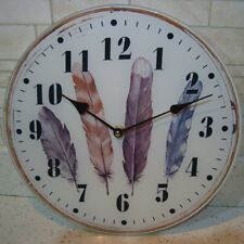 Vintage Style Shabby Chic Glass Feathers Kitchen Wall Clock