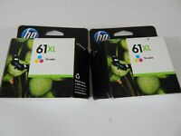 Lot of 2 HP 61XL Tri-Color Ink Cartridge Exp August 2012 *Sealed Unopened Box*