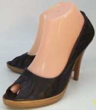 ALDO Wos Shoes US 8 Black Leather Slip-On High Heels Peep Toe Casual Work Pumps