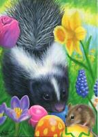 ACEO ANIMAL SKUNK MOUSE MUSCARI DAFFODIL CROCUS TULIP GARDEN EASTER EGG PAINTING