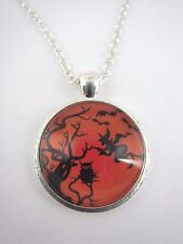 Orange Halloween Witch and Owl Scene Silver Plated Necklace New in Gift Bag