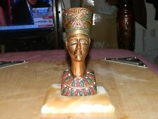 """Vintage Brass Bust of Queen Nefertiti with a Marble Base, 7"""" Tall"""