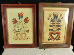 Lot 2 Cornelia Gromadzki reproduction folk art fraktur - hand painted 1960-1990