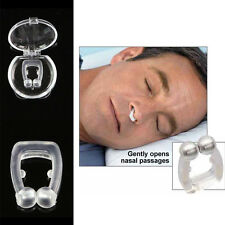 Silicon Stop Snoring Nose Clip Anti Snore Sleep Aid Device Night Tray