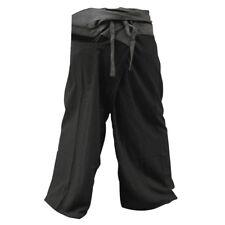 Thai Fisherman Pants Yoga Backpacker Trousers 2 Tone Black Grey One Size Fit