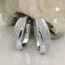 925 Sterlingsilber Ohrringe Silbercreolen Creole oval Zirkonia rhodiniert Silber