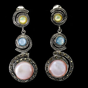 Round Multi-Color Mother Of Pearl 11mm Marcasite 925 Sterling Silver Earrings