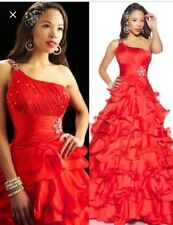 Mac Duggal Pageant dress Prom dress Formal gown $598 Red One Shoulder Size 0