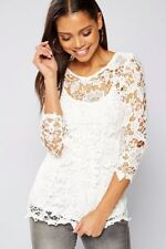 Ladies Club L three quarter sleeved white crochet lace top size 18